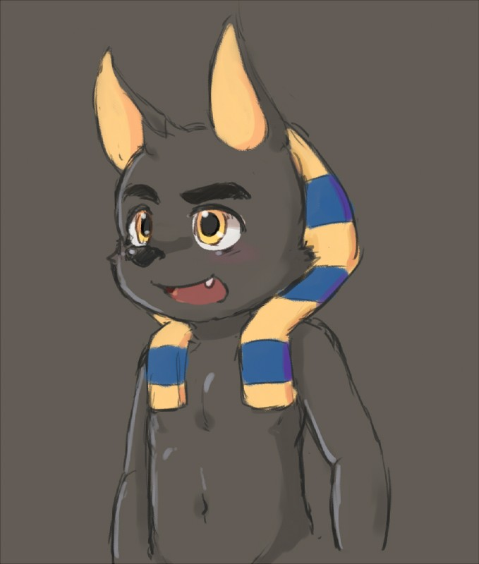 e926 2016 anubis anubis_and_the_buried_bone blush bokustar_fox cub cute_fangs deity male open_mouth reaction_image simple_background smile solo young