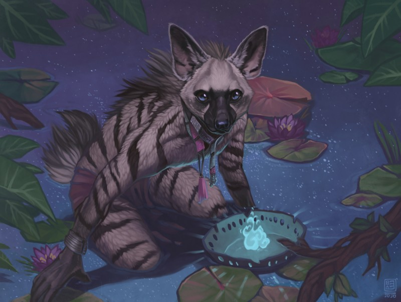 e926 aardwolf ambiguous_gender anthro black_markings black_stripes blackpassion777 blue_eyes bracelet branch clothed clothing crouching detailed_background fire flower fur grey_fur humanoid_hands hyena jewelry lily_pad loincloth looking_at_viewer magic mammal markings necklace outside partially_submerged plant root skimpy solo standing stripes tribal water water_lily