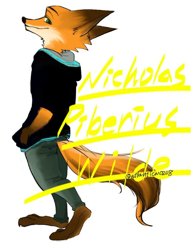 e926 2017 anthro atlantica0208 canine clothed clothing disney fox fully_clothed fur male mammal nick_wilde solo zootopia