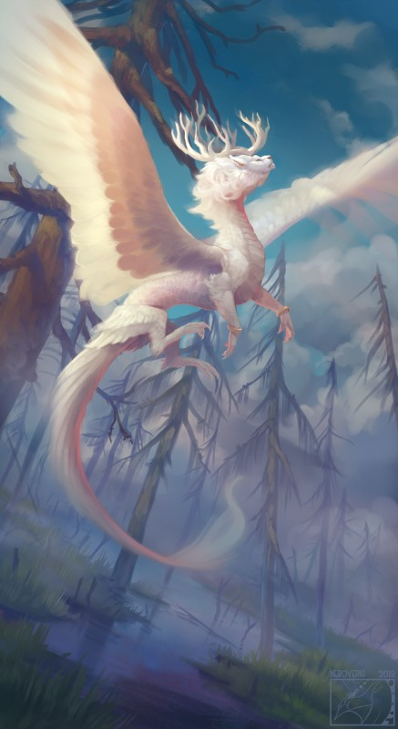 e926 2018 absurd_res antlers day detailed_background digital_media_(artwork) digital_painting_(artwork) dragon feathered_dragon feathers feral flying grass hi_res horn neboveria outside sky solo tree