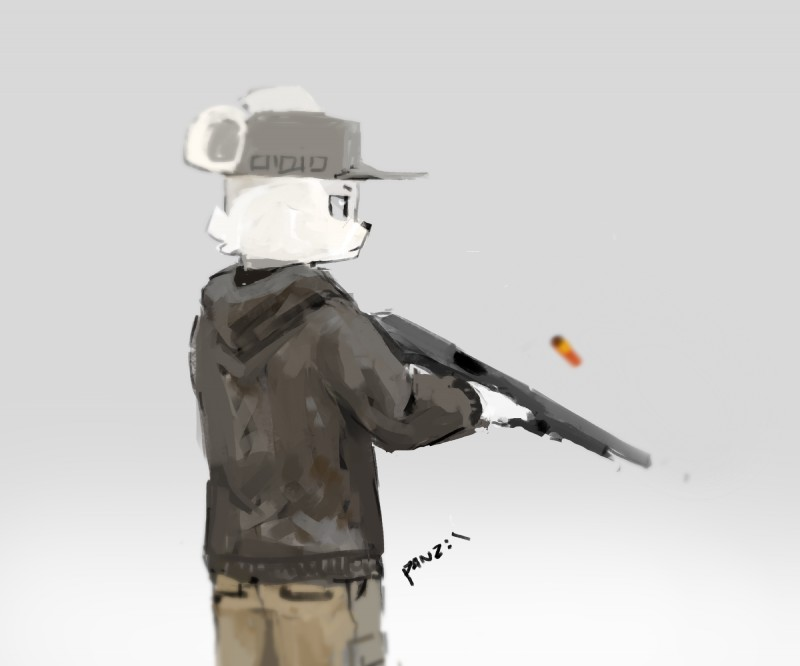 e926 2017 anthro bear cheek_tuft clothed clothing grey_background gun hat hi_res holding_object holding_weapon hoodie male mammal mossberg_500 panzery25 pines_(panzery25) polar_bear ranged_weapon shotgun shotgun_shell side_view signature simple_background solo standing tuft weapon