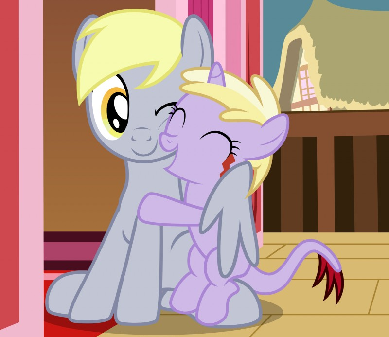 e926 alternate_species badumsquish cheek_squish daughter derpy_hooves_(mlp) dinky_hooves_(mlp) duo equine eyes_closed female friendship_is_magic grin happy hi_res horn hug mammal mother mother_and_daughter my_little_pony one_eye_closed parent pegasus sitting smile squish squishy_cheeks tatzlpony unicorn winghug wings wink