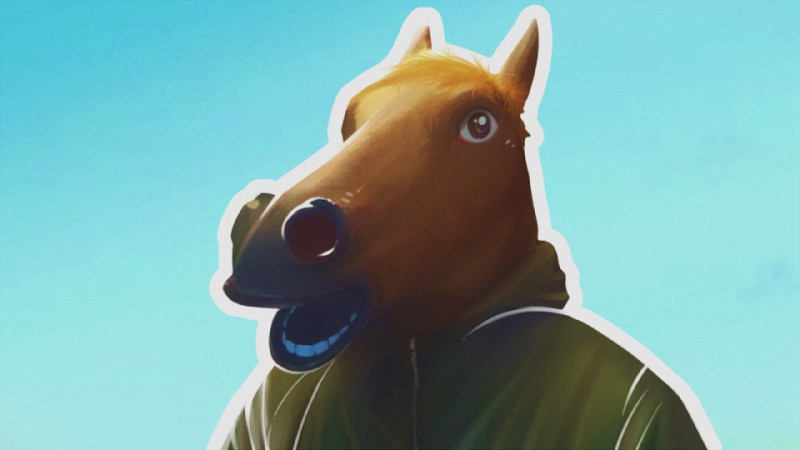e926 16:9 2015 ambiguous_gender anthro blue_background blush brown_eyes brown_fur clothed clothing creepy_horse_mask equine fur hair hoodie horse mammal mask open_mouth orange_hair simple_background solo syynx teeth