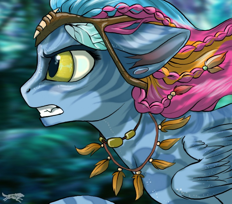 e926 alien blue_hair braided_hair equine fan_character feathered_wings feathers hair humanoid hybrid james_cameron's_avatar lostinthetrees mammal my_little_pony na'vi pegasus pink_hair solo teeth wings yellow_eyes