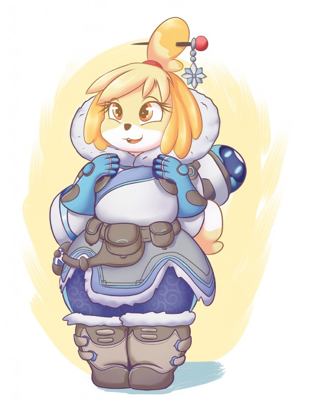 e926 2016 animal_crossing anthro blonde_hair canine clothed clothing cosplay crossover dog eyelashes female graphene hair hairpin hi_res isabelle_(animal_crossing) mammal mei_(overwatch) nintendo open_mouth overwatch overweight shih_tzu short_hair solo video_games