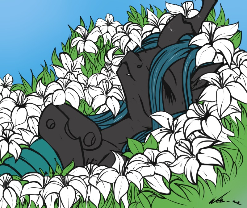 e926 2016 blue_hair changeling eyes_closed fangs female feral flower friendship_is_magic hair hi_res hole_(anatomy) horn inner_ear_fluff lily_(flower) long_hair lying my_little_pony neko-me on_back outside plant queen_chrysalis_(mlp) smile solo