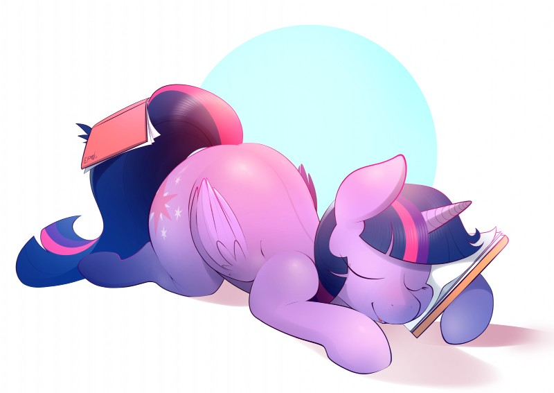 e926 absurd_res ass_up b-epon big_butt book butt cutie_mark equine eyes_closed fell_asleep female friendship_is_magic hair hi_res horn mammal my_little_pony pillow sleeping solo study studying twilight_sparkle_(mlp) winged_unicorn wings