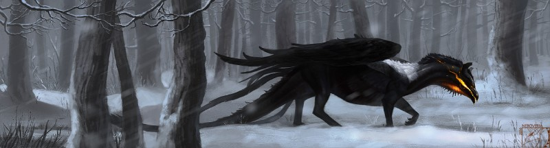 e926 2016 ambiguous_gender claws day digital_media_(artwork) dragon feathered+dragon forest neboveria outside scalie snow standing tree western_dragon