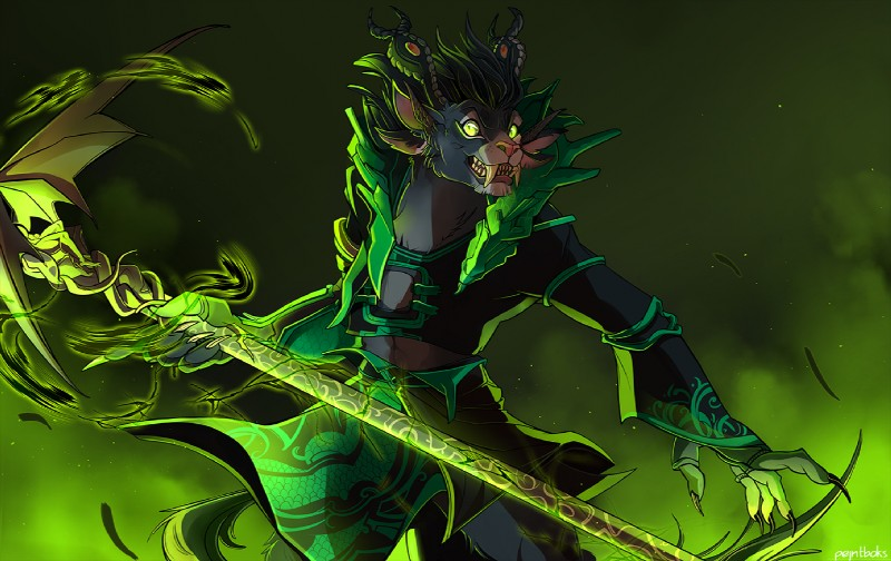 e926 4_ears 5_fingers anthro charr charrcoal_(character) claws clothing fangs feline female green_eyes guild_wars horn magic magic_user mammal multi_ear necromancer pejntboks robe solo staff video_games