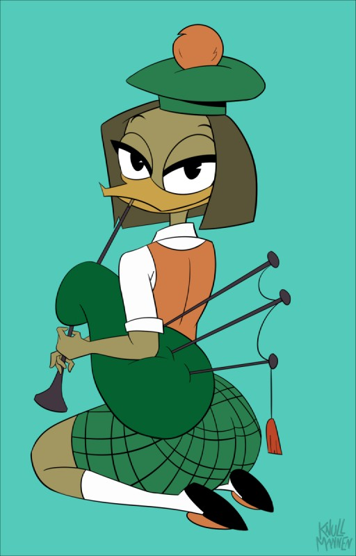 e926 anthro avian bagpipes beak bedroom_eyes bird blue_background brown_hair duck ducktales ducktales_(2017) eyelashes female hair half-closed_eyes hat hi_res kilt knullmannen_(artist) musical_instrument scottish seductive simple_background smile solo