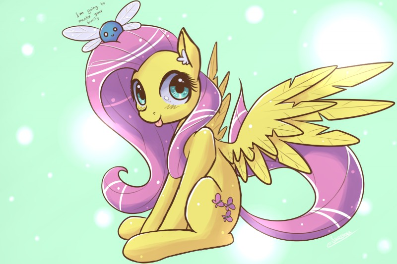 e926 blue_eyes cutie_mark digital_media_(artwork) duo ear_tuft english_text equine eshredder feathered_wings feathers female feral fluttershy_(mlp) friendship_is_magic fur hair inner_ear_fluff long_hair looking_at_viewer mammal my_little_pony parasprite_(mlp) pegasus pink_hair simple_background smile solo_focus text tongue tongue_out tuft wings yellow_feathers yellow_fur