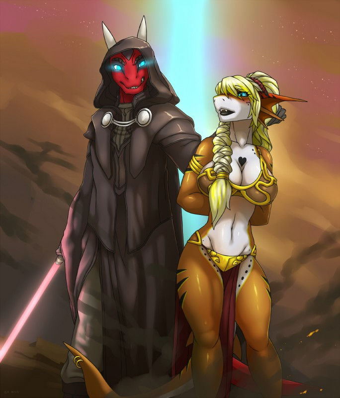 e926 2018 <3 anthro armor big_breasts bikini_armor blonde_hair blue_eyes breasts clothed clothing detailed_background digital_media_(artwork) dragon duo female fish hair horn link2004 male marine midriff navel reptile scalie shark sith slave star_wars unconvincing_armor