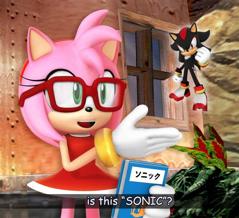 e926 3d_(artwork) amy_rose book bracelet clothed clothing digital_media_(artwork) dress english_text eyewear female glasses gloves green_eyes hairband hedgehog japanese_text jewelry male mammal meme official_art shadow_the_hedgehog sonic_(series) subtitled text the_brave_fighter_of_sun_fighbird