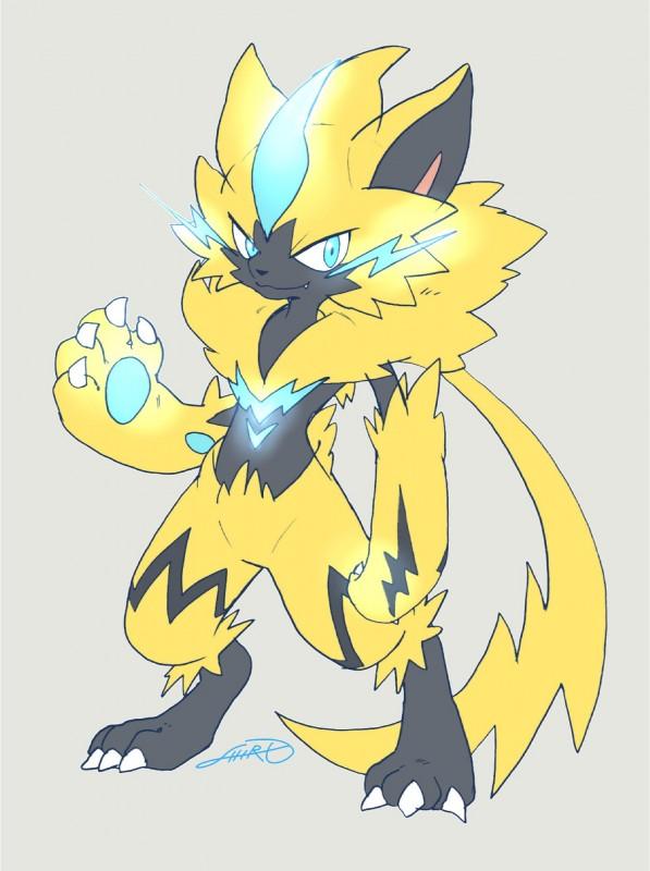 e926 blue_eyes blue_fur claws digitigrade feline fur glowing glowing_markings mammal markings nintendo pokémon pokémon_(species) shiror0r0 video_games yellow_fur zeraora