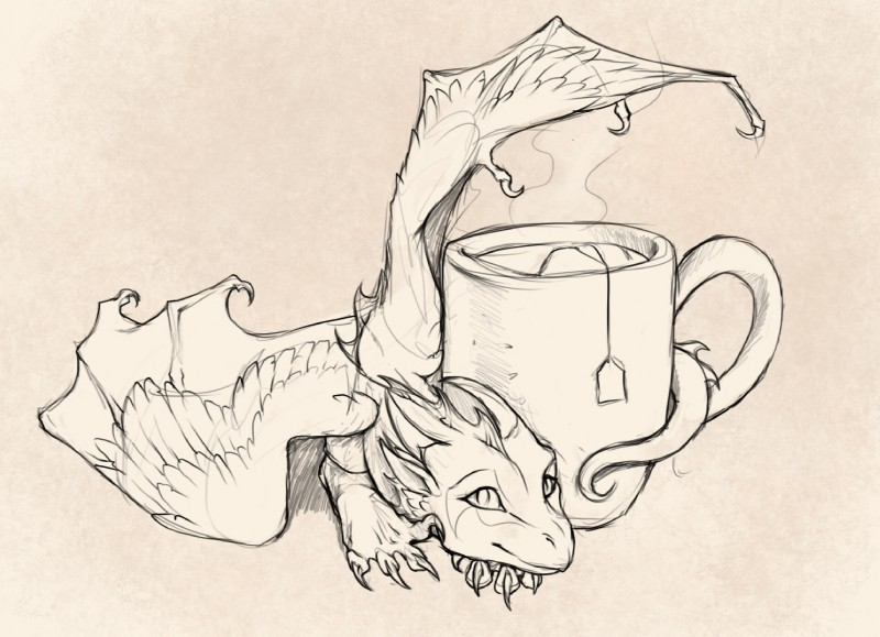 e926 ambiguous_gender beverage black_and_white claws cup cute dragon feathered_wings feathers feral firebirddragon food membranous_wings micro monochrome scalie simple_background smile solo steam tea wings