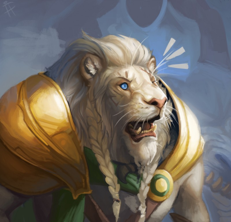 e926 absurd_res ajani_goldmane anthro armor braided_hair feline firefeathers hair hi_res leonin lion magic_the_gathering male mammal muscular muscular_male open_mouth planeswalker reaction_image sharp_teeth solo surprise teeth wide_eyed