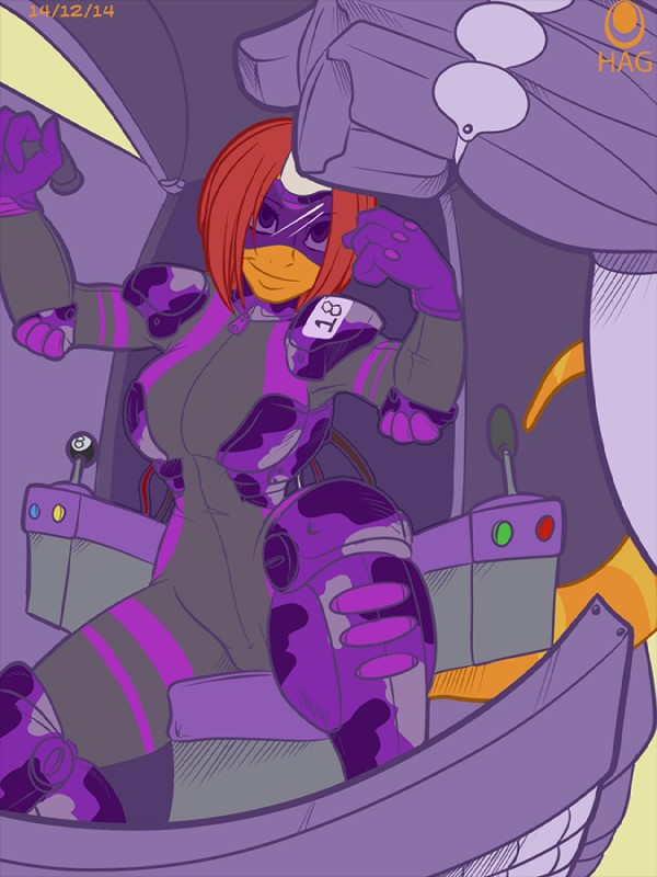 e926 2014 4_fingers 8_ball anthro avencri breasts camo clothed clothing digital_media_(artwork) eyewear female fist fist_up gloves hair horn low-angle_view machine mecha orange_body red_hair reptile ringed_tail robot scalie shey short_hair sitting skinsuit smile solo straight_hair thick_tail tight_clothing uniform visor zipper