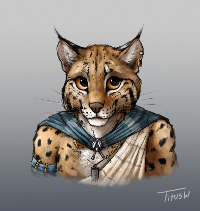 e926 anthro armband bust_portrait cape clothed clothing ear_piercing ear_tuft feline fur jewelry looking_at_viewer lynx male mammal necklace orange_eyes piercing portrait smile solo spots spotted_fur titusw tuft