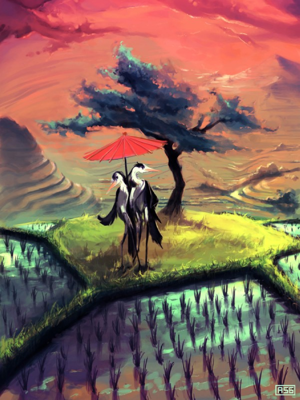 e926 ambiguous_gender anthro aquasixio avian beak bird day detailed_background digital_media_(artwork) digital_painting_(artwork) duo food grass outside rice standing stork tree umbrella what