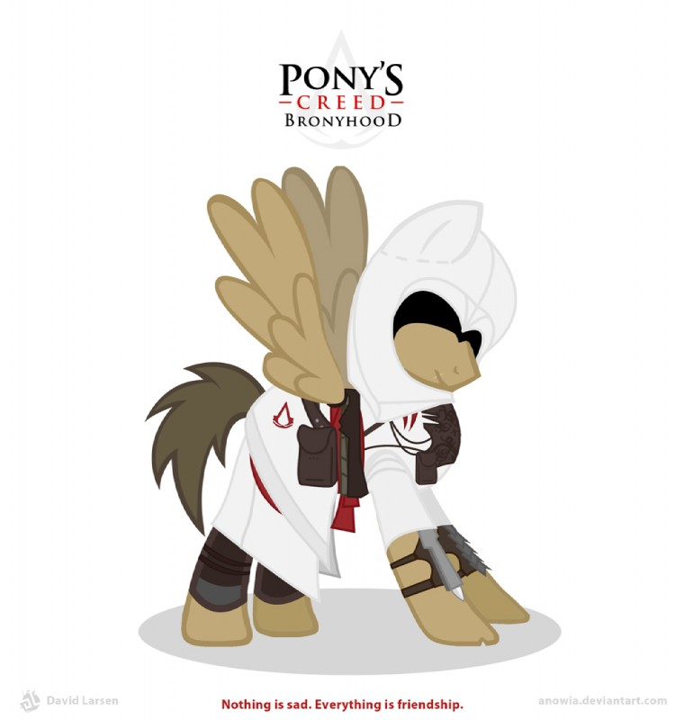 e926 anowia armor assassin assassin's_creed bronyhood brown_feathers brown_hair cloak clothing crossover english_text equine eyeless feathered_wings feathers feral gauntlets gloves greaves hair male mammal mask my_little_pony pegasus robe saddle_bag simple_background solo tan_feathers text video_games weapon white_background wings