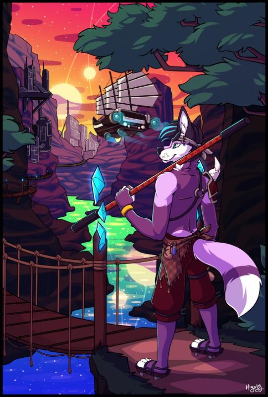 e926 2017 anthro canine fantasy fox fur higsby male mammal purple_fur taro-fox