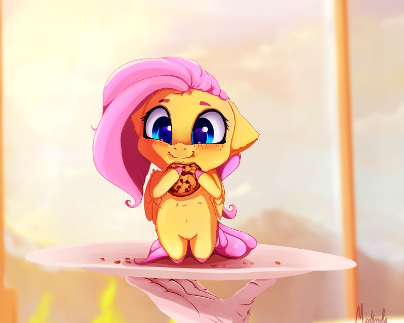 e926 2018 blush chibi cookie duo equine female fluttershy_(mlp) food freckles friendship_is_magic hair hi_res long_hair mammal miokomata my_little_pony pegasus pink_hair smile solo_focus wings