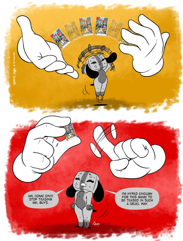 e926 big_hands clothing comic console crazy_hand digital_media_(artwork) english_text eyelashes female game_(disambiguation) gloves joaoppereiraus jumping mammal master_hand nintendo nintendo_switch size_difference slightly_chubby super_smash_bros sweat switch_dog tap text thick_thighs video_games
