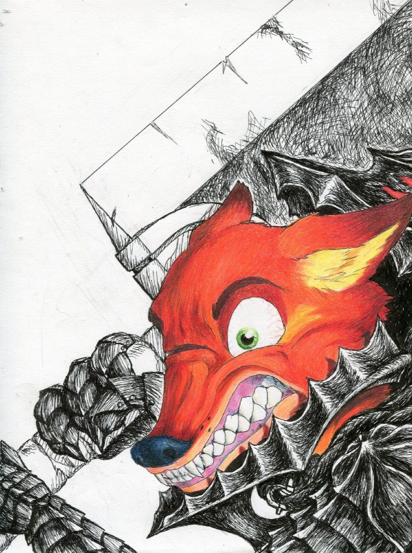 e926 1_eye amazing angry armor bearing_fangs berserk canine cripple crossover disney fangs fox fur green_eyes guts_(berserk) guts_(character) hi_res male mammal mechanical_arm melee_weapon nick_wilde parody red_fur scar solo sword teeth weapon yalloutfoxed zootopia