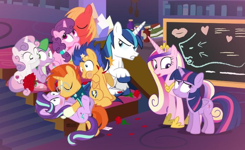 e926 big_macintosh_(mlp) blush chalkboard dm29 dragon equine female flash_sentry_(mlp) flower friendship_is_magic horn horse kissing male male/female mammal my_little_pony plant pony princess_cadance_(mlp) punch rose shining_armor_(mlp) spike_(mlp) spoiler starlight_glimmer_(mlp) sugar_belle_(mlp) sunburst_(mlp) sweetie_belle_(mlp) twilight_sparkle_(mlp) unicorn winged_unicorn wings
