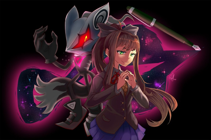 e926 anthro big_ears bow canine claws clothed clothing crossover doki_doki_literature_club female footwear fur gloves glowing glowing_eyes green_eyes hair headgear hi_res human infinite_(sonic) jackal long_hair looking_at_viewer male mammal mask monika pen pointy_ears sharp_claws shirt shoes skirt smile sonic_(series) sonic_forces standing twistedvivid video_games yellow_eyes