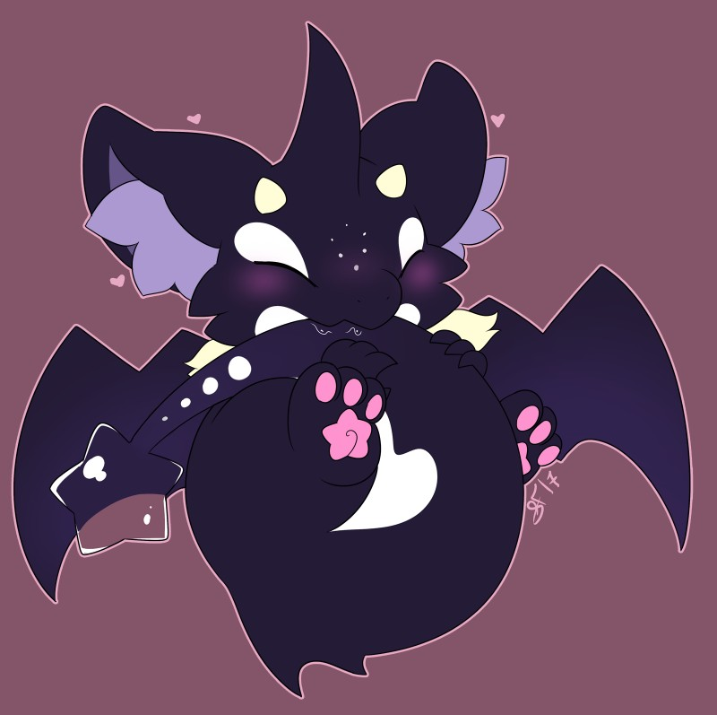 e926 <3 blush chibi cute dragon eyes_closed hi_res horn inner_ear_fluff iota male membranous_wings nude pawpads paws reclining semi-anthro signature slimefur smile solo spread_legs spreading tail_in_mouth wings