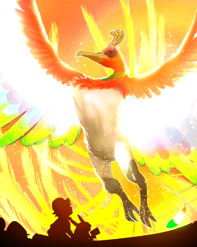 e926 ambiguous_gender anthro ash_ketchum cosmo_(artist) feathered_wings feathers ho-oh legendary_pokémon nintendo nude pikachu pokémon pokémon_(species) red_eyes video_games wings