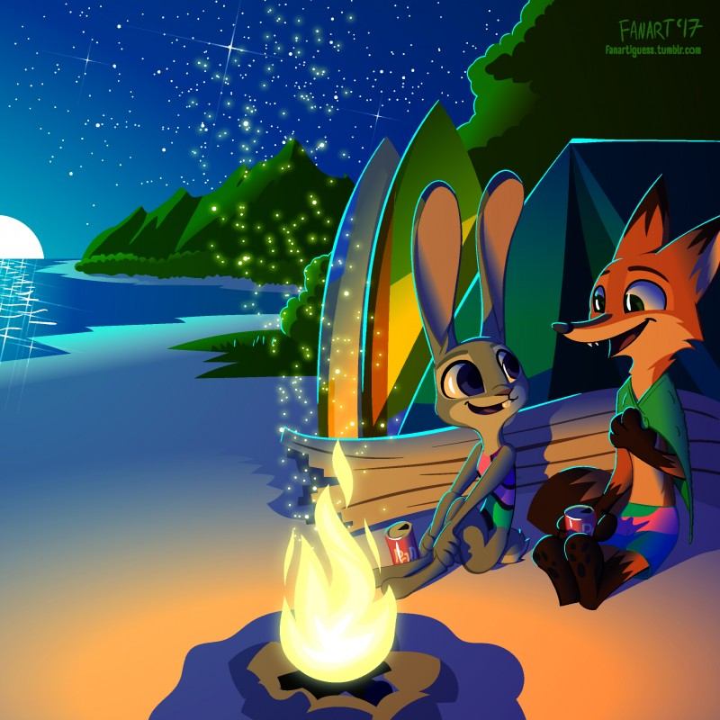 e926 2017 absurd_res anthro beach beverage canine clothing dipstick_ears dipstick_tail disney duo fanartiguess female fire fox gloves_(marking) green_eyes hi_res holding_object judy_hopps lagomorph long_ears looking_back male mammal markings multicolored_tail nick_wilde one-piece_swimsuit open_mouth open_smile purple_eyes rabbit seaside shorts sitting smile socks_(marking) soda surfboard swimsuit tent towel zootopia