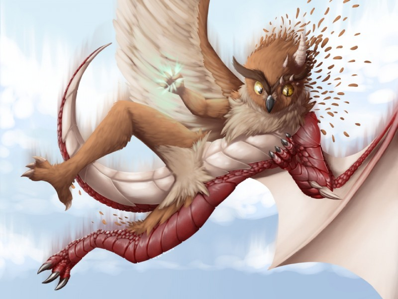 e926 ambiguous_gender anthro avian bird dragon feathered_wings feathers furrychrome great_horned_owl inzoreno magic owl scales scaley_wings simple_background solo transformation wings yellow_eyes