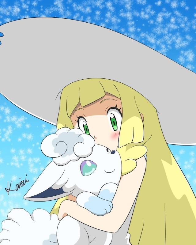 e926 alolan_vulpix blonde_hair blue_eyes canine crystal_hakuyu fur green_eyes hair hat human lillie_(pokemon) mammal nintendo pokémon pokémon_(species) regional_variant video_games white_fur