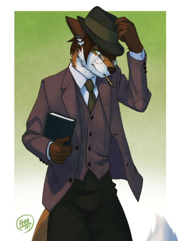 e926 2014 5_fingers abstract_background anthro book brown_fur brown_hair canine classy clothed clothing dress_shirt eyewear fedora feralise fox front_view fully_clothed fur gentleman glasses green_eyes hair hat holding_book holding_object humanoid_hands inner_ear_fluff looking_at_viewer male mammal mouth_hold necktie orange_fur pants pen pince-nez portrait shirt short_hair signature solo standing suit three-quarter_portrait waistcoat white_fur