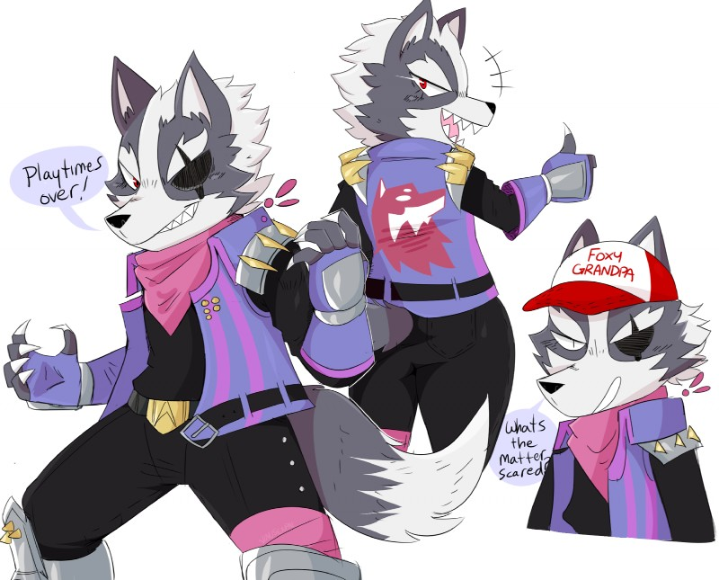 e926 2018 anthro canine claws clothed clothing dialogue english_text eye_patch eyewear hat hi_res jinu male mammal nintendo open_mouth red_eyes sharp_teeth simple_background solo star_fox teeth text thumbs_up video_games white_background wolf wolf_o'donnell