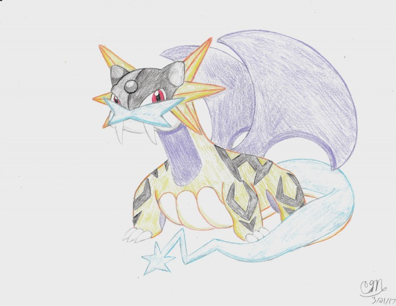 e926 2017 absurd_res black_scales cyan_scales duck_hunt_dog_(artist) hi_res hybrid legendary_pokémon looking_at_viewer male mammal nintendo pokémon pokémon_(species) purple_scales raikou red_eyes salaikou salamence scales simple_background solo stripes traditional_media_(artwork) video_games yellow_scales