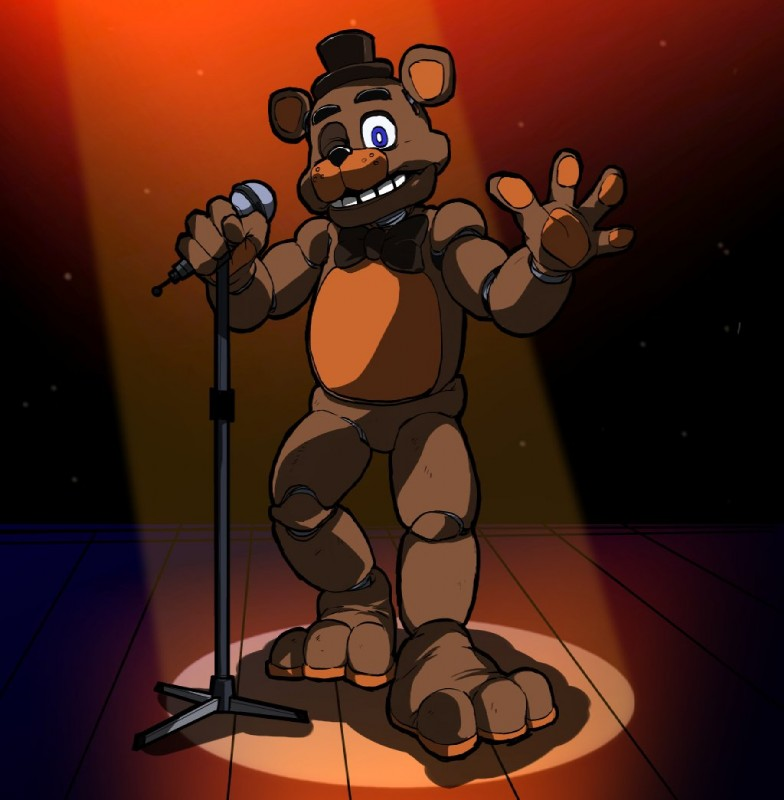 e926 2018 88歩 animatronic anthro bear bow_tie digital_media_(artwork) five_nights_at_freddy's freddy_(fnaf) machine male mammal robot simple_background video_games