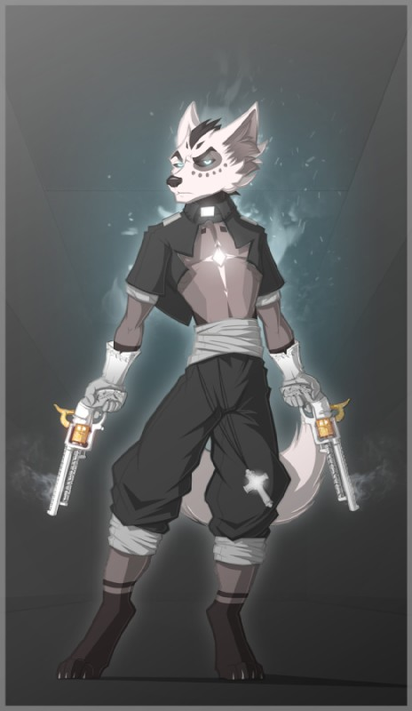 e926 2017 4_toes 5_fingers angel anthro aura barefoot black_nose black_sclera border canine cel_shading claws clothed clothing cross demon digital_media_(artwork) digitigrade dual_wielding father_warren front_view fur gloves glowing glowing_eyes grey_fur gun handgun holding_object holding_weapon inner_ear_fluff jackal ketrol_art looking_at_viewer magic male mammal markings pants pistol priest ranged_weapon reverend revolver robe sash simple_background smoke socks_(marking) solo standing toes weapon white_fur