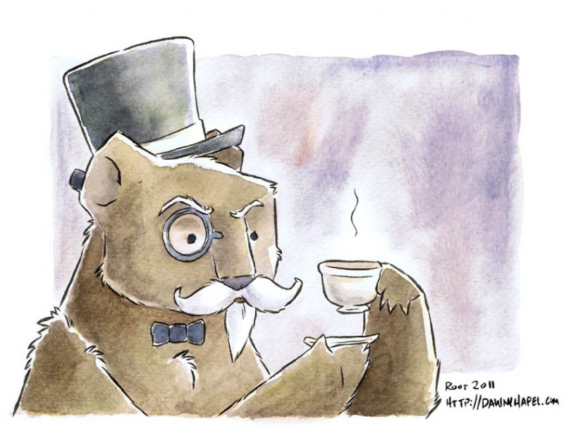 e926 2011 anthro astolpho bear beard beverage bow_tie brown_fur coffee cup eyewear facial_hair food fur hat holding_cup male mammal monocle mustache solo tea_cup