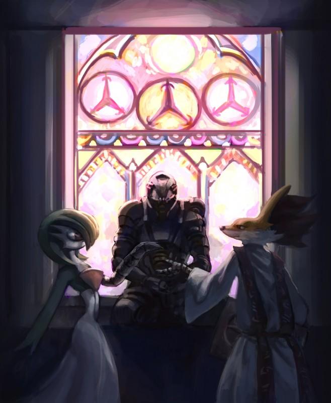e926 absurd_res ambiguous_gender armor church delphox detailed_background fpbarros gardevoir hi_res humanoid mammal nintendo pokémon pokémon_(species) stained_glass stole video_games wedding