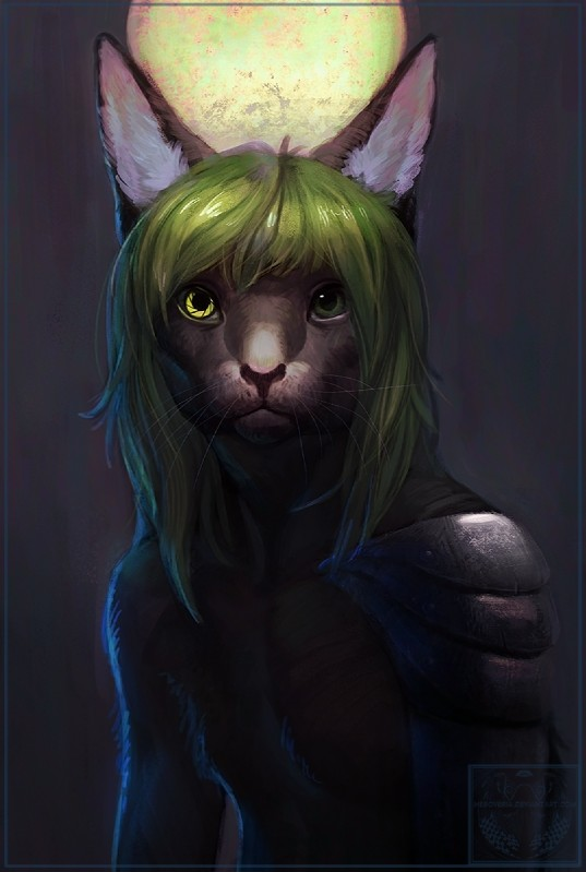 e926 2016 anthro armor cat clothed clothing digital_media_(artwork) feline green_eyes green_hair hair looking_at_viewer male mammal neboveria solo whiskers