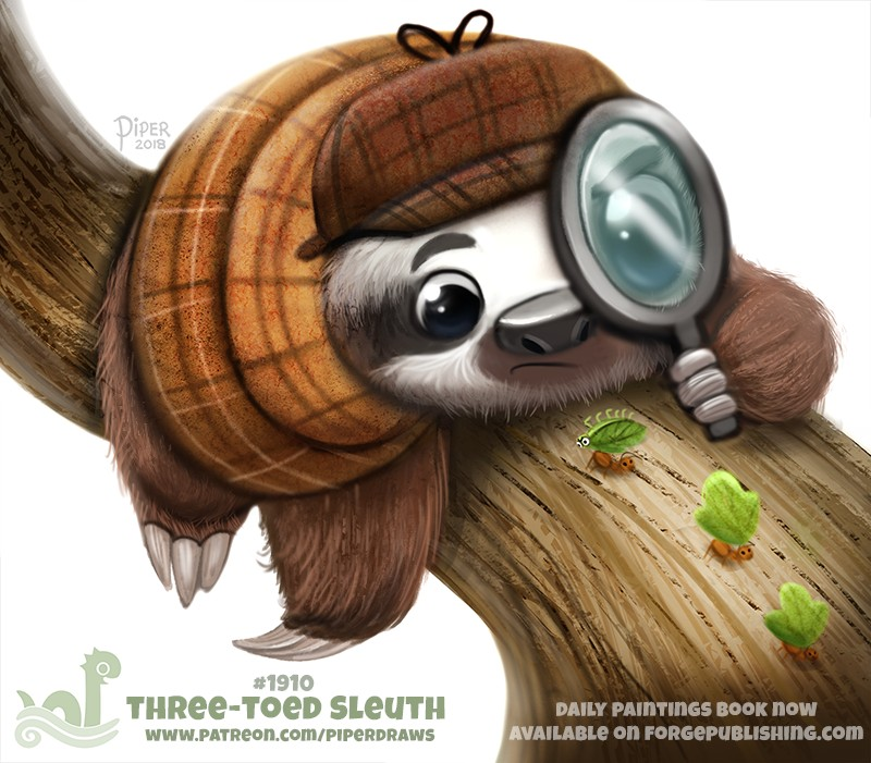 e926 2018 ambiguous_gender ant anthro arthropod black_eyes black_fur branch brown_fur claws cryptid-creations deerstalker_hat fur hat humor insect leaf leafcutter_ant magnifying_glass mammal pun simple_background sloth solo three-toed_sloth white_background white_fur wood