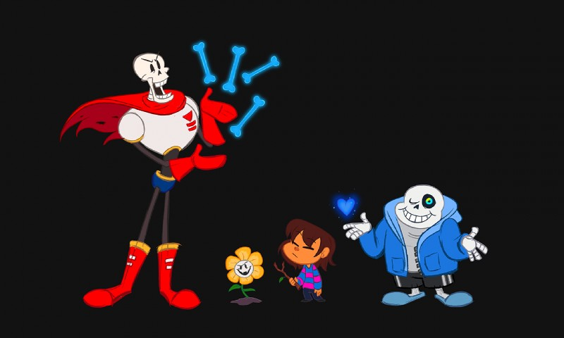 e926 2016 animated_skeleton bone digital_media_(artwork) flowey_the_flower group humanoid kritterart papyrus_(undertale) protagonist_(undertale) sans_(undertale) skeleton undead undertale video_games
