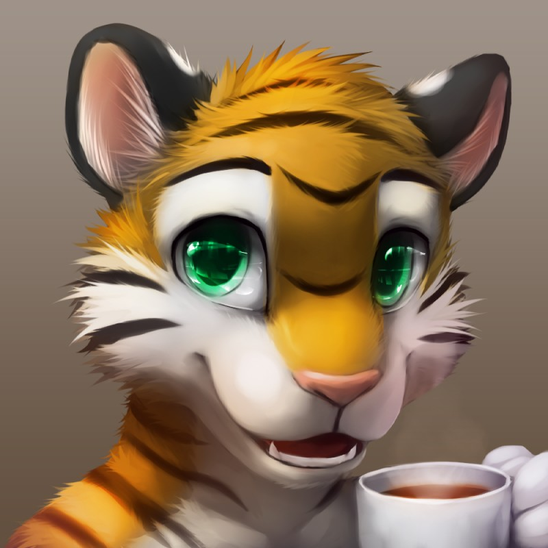 e926 2012 anthro beverage big_eyes black_fur black_stripes coffee cup cute digital_media_(artwork) feline front_view fur green_eyes grey_background headshot_portrait holding_cup holding_object looking_at_viewer male mammal multicolored_fur open_mouth pink_nose portrait simple_background smile smilee solo striped_fur stripes teeth thanshuhai tiger white_fur yellow_fur