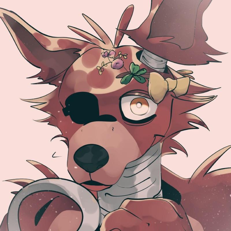 e926 2018 animatronic anthro canine danchundemei digital_media_(artwork) eye_patch eyewear five_nights_at_freddy's fox foxy_(fnaf) hi_res machine male mammal robot simple_background video_games