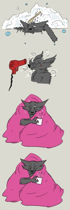 e926 absurd_res bath bec_noir bedding blanket bubble canine clenched_teeth conditional_dnp cup digital_drawing_(artwork) digital_media_(artwork) eyes_closed hairdryer hi_res homestuck jack_noir mammal ms_paint_adventures scar teeth white_eyes wolftacos