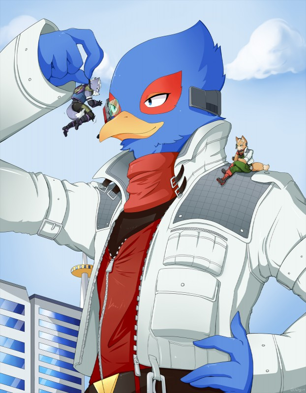 e926 anthro avian bird building canine clothed clothing falco_lombardi fox fox_mccloud grabbing group hi_res macro male mammal nintendo ohjing1004 star_fox video_games wolf wolf_o'donnell yeonok104