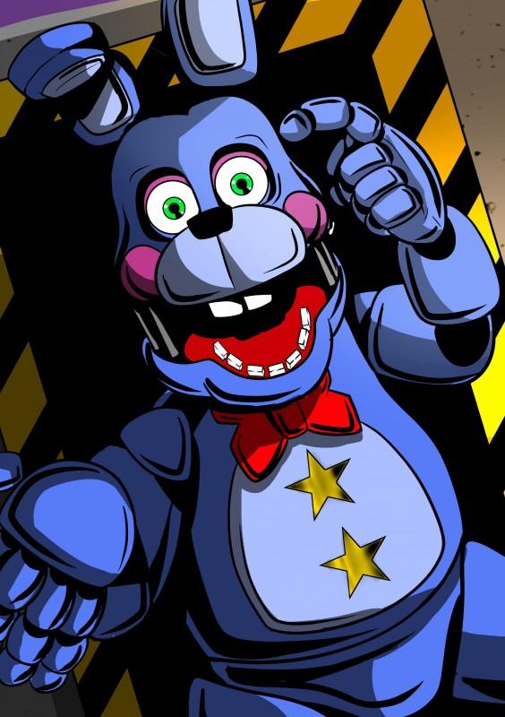 e926 2018 absurd_res animatronic anthro digital_media_(artwork) five_nights_at_freddy's freddy_fazbear's_pizzeria_simulator hi_res lagomorph machine mammal rabbit robot rockstar_bonnie_(fnaf) shu_20625 simple_background video_games